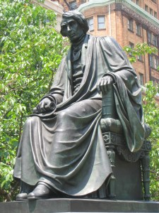 Roger B. Taney statue in Mount Vernon Place from Baltimore, Maryland