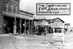 Sign banning the carrying of firearms in Dodge City, KS in 1878.