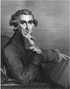 Engraving of Thomas Paine, seated, hand under chin, at desk with inkwell, 1791. Courtesy Wikimedia Commons.