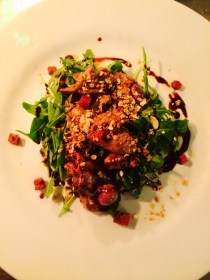 warm chicken liver and chorizo salad with granola and fig dressing