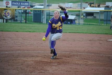 Senior Lexi Fugate pitches in the 4/6 Varsity softball game against Dubois.