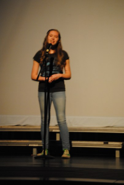 Seventh grader Kinley Block sings a song.