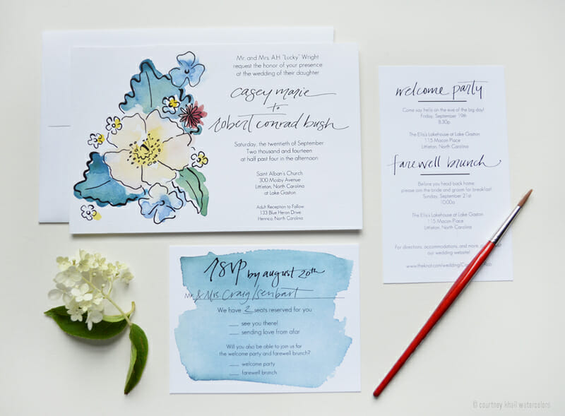 lake gaston wedding invitation suite_courtney khail