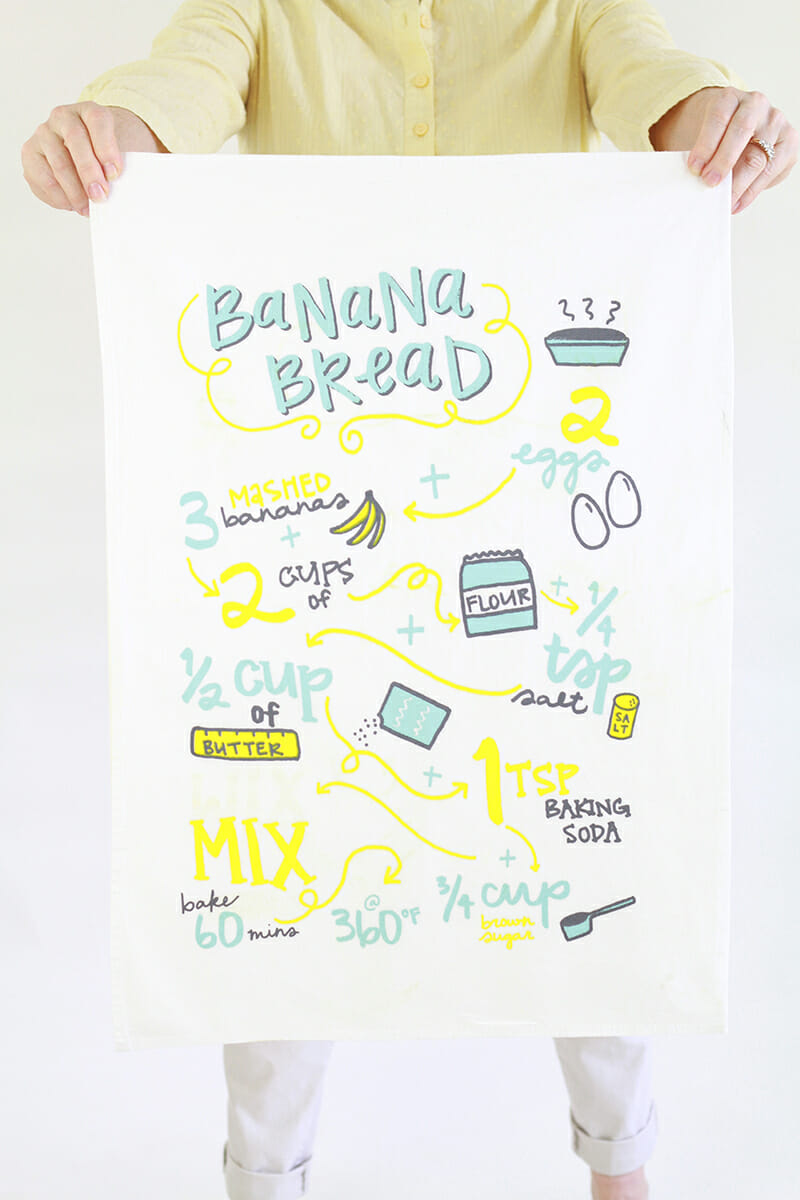 Fresh Out of Ink - Banana Bread Recipe Tea Towel - 72dpi 800px