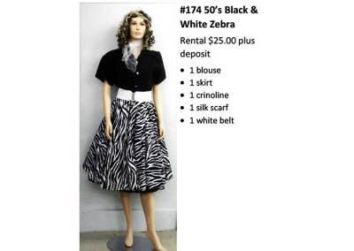 174 50's Black & White Zebra