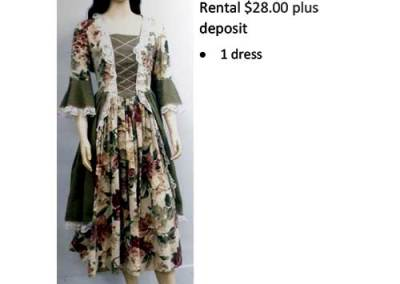 737 Flowered Colonial Dress