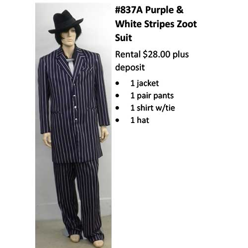 837A Purple & White Striped Zoot Suit