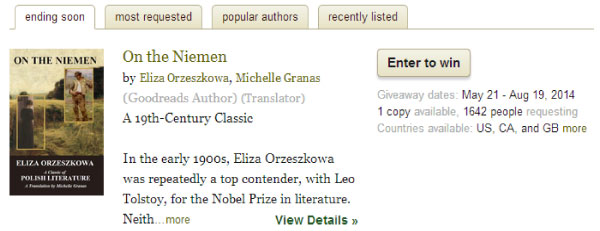 goodreads giveaways