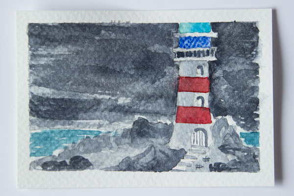lighthouse watercolour painting