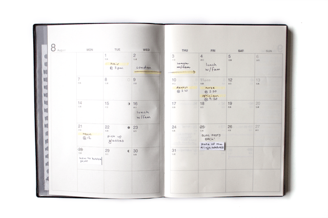 muji planner monthly spread