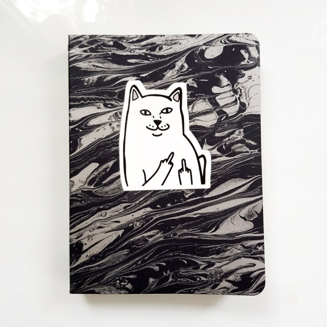 cover of mossery notebook with sticker of cat giving the middle finger