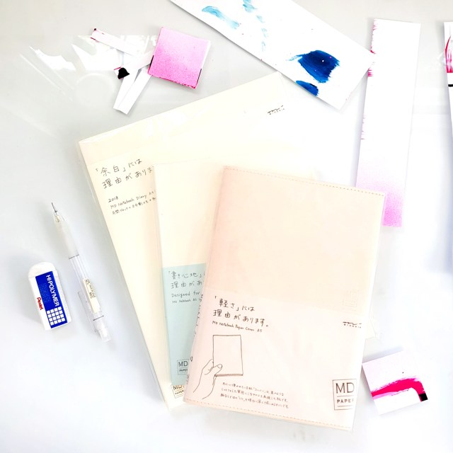 MD Paper products notebook and planner lying on desk