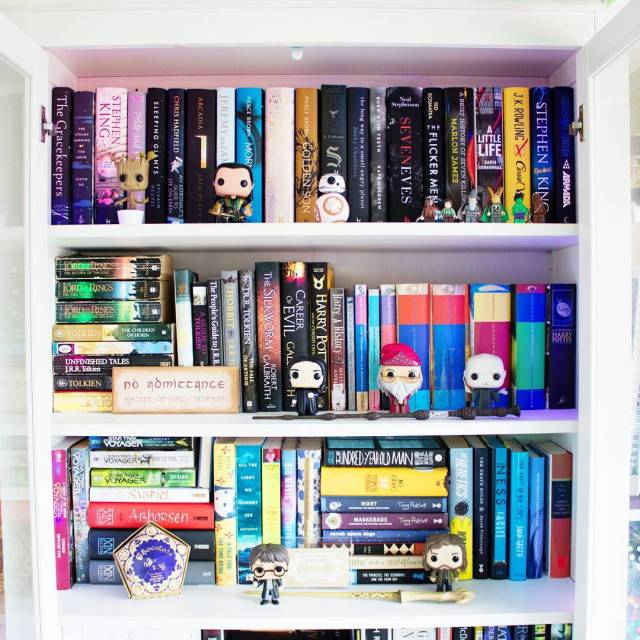 Advice on how to read more. Image shows books in bookcase with Pop Funko characters and Harry Potter memorabilia.