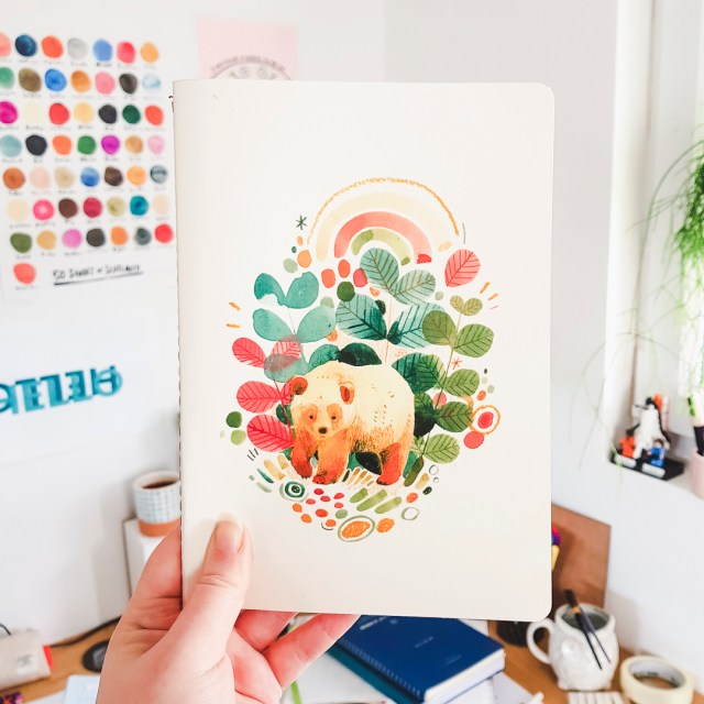 A5 sketchbook featuring illustrations on the cover by Leigh Ellexson.
