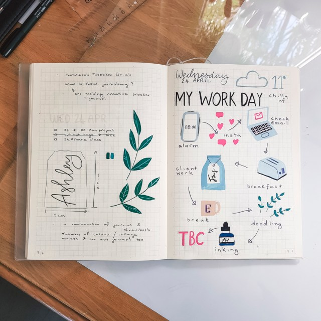 Gouache sketches in an MD Paper notebook. Prompted me to try using a sketchbook as a bullet journal.