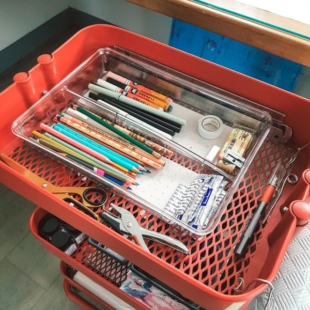 Kitchen utensil organiser to organise pens and pencils.