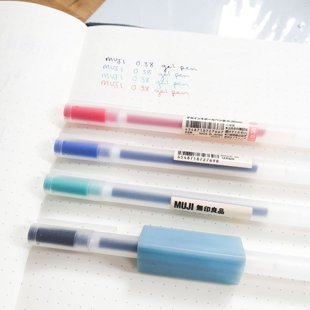 Muji gel pens for bullet journaling