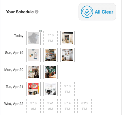 How I got 100k Pinterest views. Screenshot of pins which have been scheduled in Tailwind.