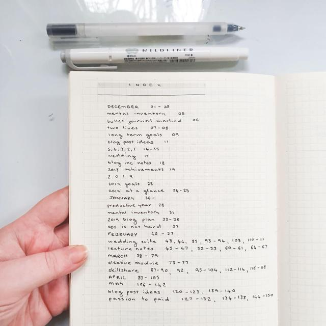 Image shows a notebook open to a page which contains a bullet journal index.