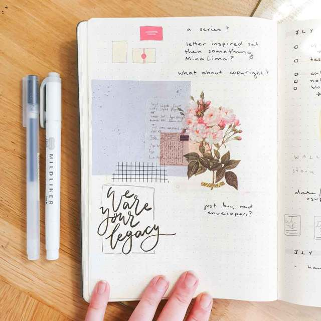 Image shows a mistake in a bullet journal which has been covered up using stickers.