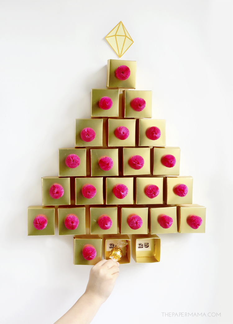 DIY Golden Box Tree Advent Calendar | The Paper Mama