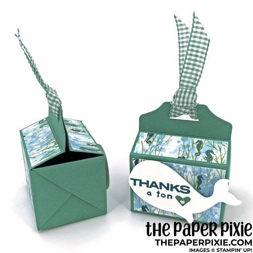 This is a handmade criss-cross treat box craft project created by the Paper Pixie using Stampin' Up! supplies.
