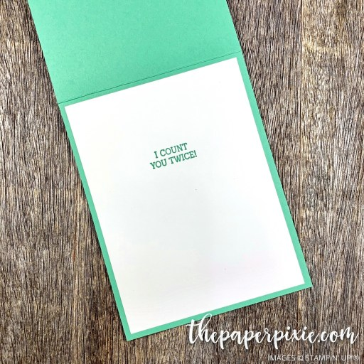 This is a handmade card stamped with the Fancy Phrases Stampin' Up! stamp set and the sentiment says when I count you twice.