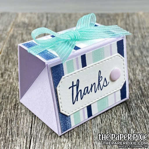 This is a handmade tapered treat box craft project created by the Paper Pixie using Stampin' Up! supplies.