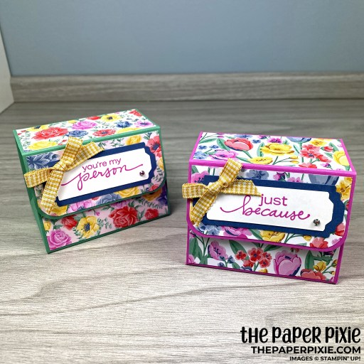 This is a handmade large tapered treat box project that can hold a handful of candy or a small gift. The image shows two examples with the sentiments You're my Person and Just Because.
