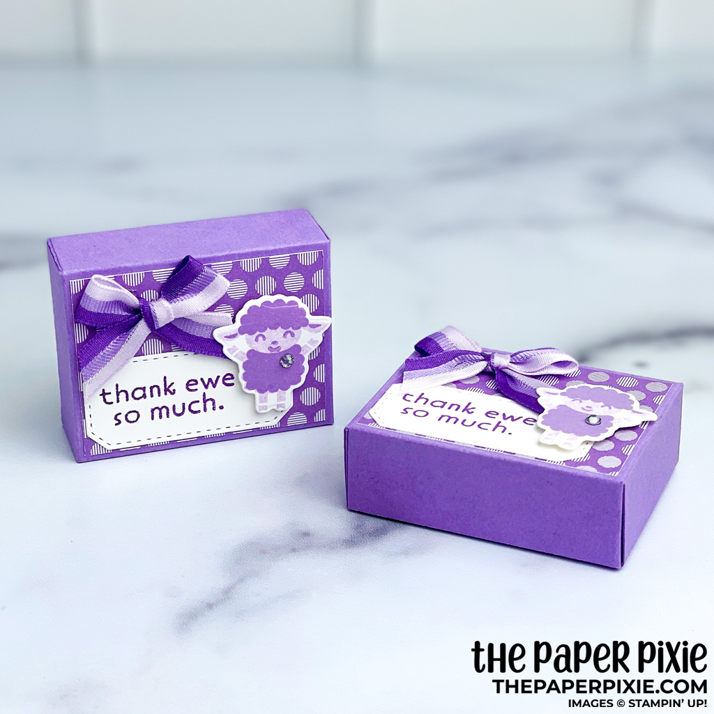 This is a handmade quarter sheet treat box craft project created by the Paper Pixie using Stampin' Up! supplies.