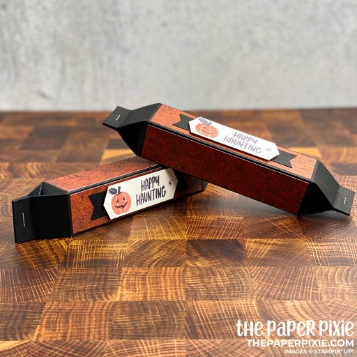 This is a handmade treat tube box craft project created by the Paper Pixie using the Banner Year Stampin' Up! bundle.