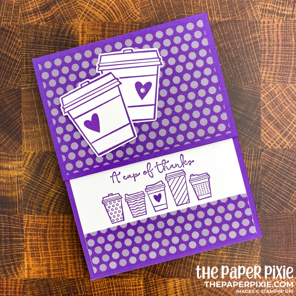 This is a handmade gift card holder craft project created by the Paper Pixie using Stampin' Up! Press On stamp set with the sentiment a cup of thanks.