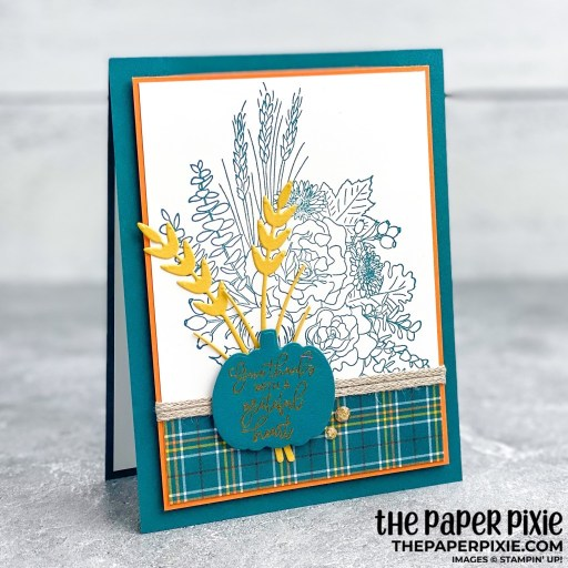 This is a handmade card made with the Autumn Greetings Stampin' Up! bundle and the sentiment says give thanks with a grateful heart.