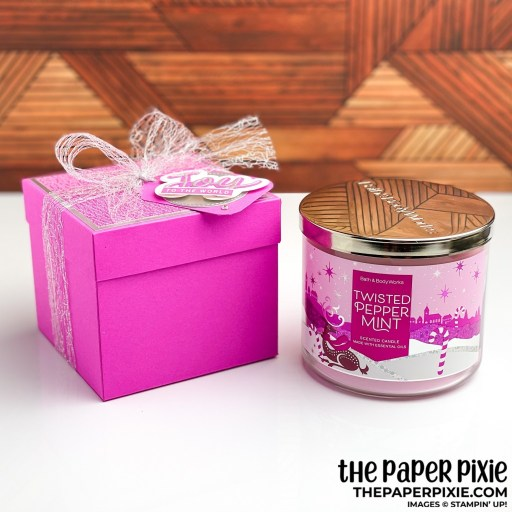 This is a handmade 3-Wick Candle Gift Box craft project created by the Paper Pixie using Stampin' Up! supplies.