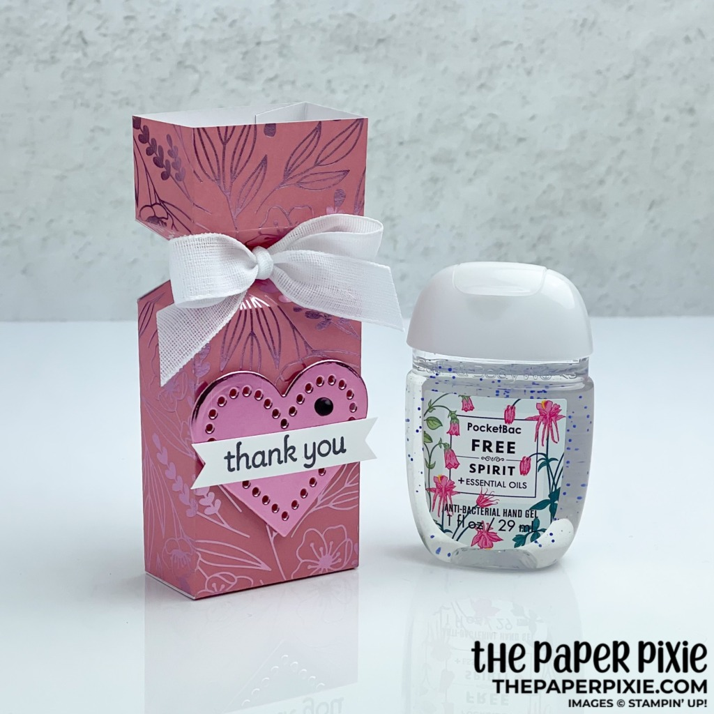 This is a handmade gift box made with the Lots of Heart Stampin' Up! bundle and the sentiment says thank you.