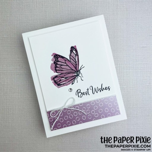 This is a handmade card stamped with the A Touch of Ink Stampin' Up! stamp set and the sentiment says best wishes.