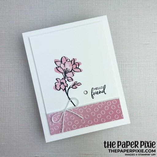 This is a handmade card stamped with the A Touch of Ink Stampin' Up! stamp set and the sentiment says hello friend.