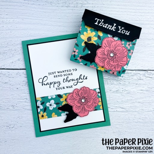 This is a handmade card stamped with the Back to Back Blooms Stampin' Up! stamp set and the sentiment says thank you.