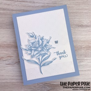 This is a handmade card stamped with the Flowering Blooms Stampin' Up! bundle and the sentiment says thank you.