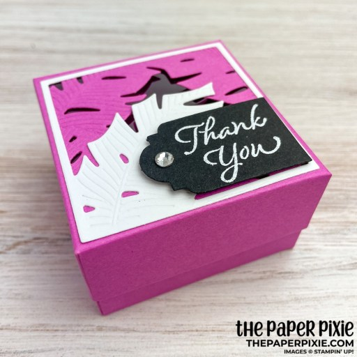 This is a handmade gift box made with the Tranquil Thoughts Stampin' Up! bundle and the sentiment says thank you.