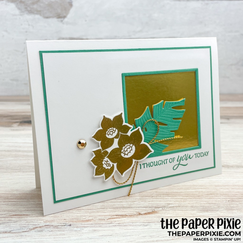 This is a handmade card made with the Tranquil Thoughts Stampin' Up! bundle and the sentiment says I thought of you today.
