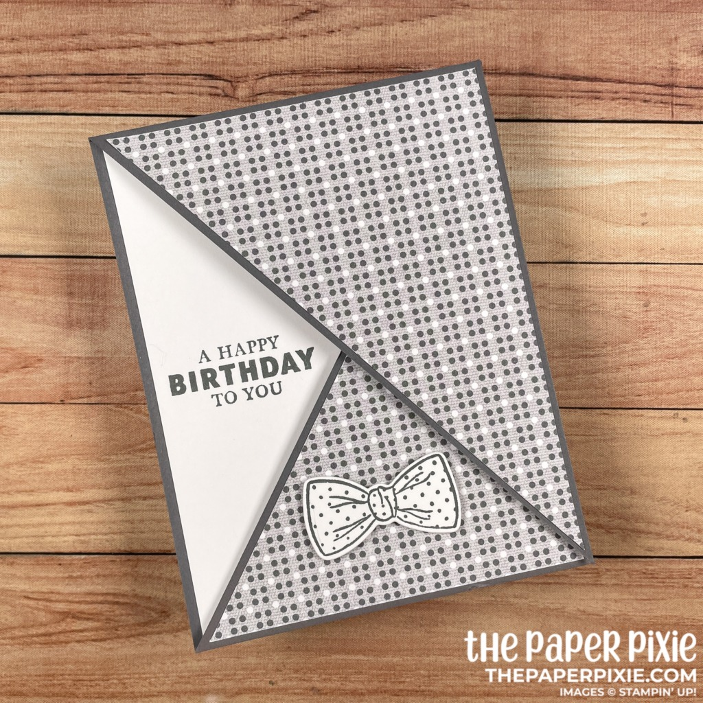 This is a handmade Diagonal Double Flap card made with the Well Suited Stampin' Up! product suite and the sentiment says a happy birthday to you.