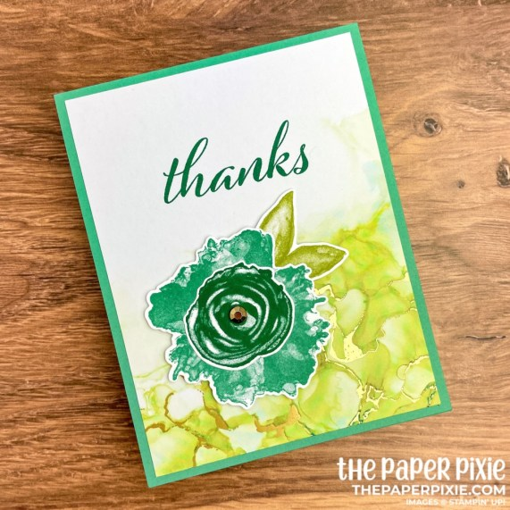 This is a handmade one sheet wonder card set made with the Expressions in Ink Stampin' Up! product suite and the sentiment says thanks.