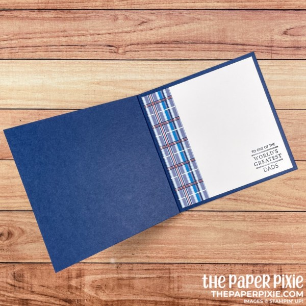 This is a handmade book fold card made with the Well Suited Stampin' Up! product suite and the sentiment says to one of the world's greatest dads.