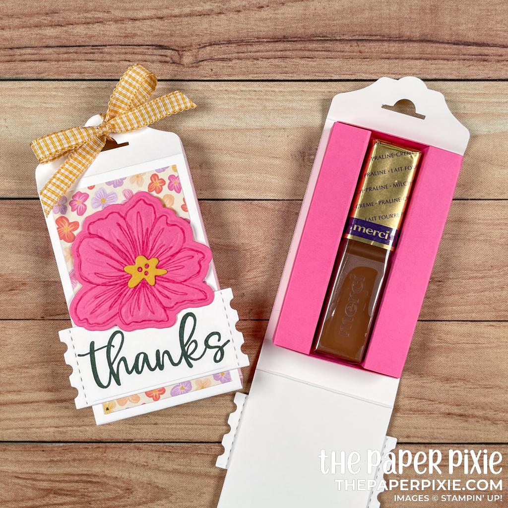 This is a handmade Treat Holder made with the Art In Bloom Stampin' Up! bundle and the sentiment says thanks.
