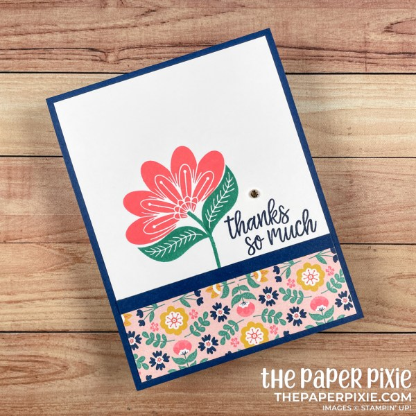 This is a handmade card stamped with the In Symmetry Stampin' Up! stamp set and the sentiment says thanks so much.