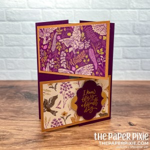 This is a crossover gate fold card made with the Blackberry Beauty Stampin' Up! suite and the sentiment says I know this is a difficult day