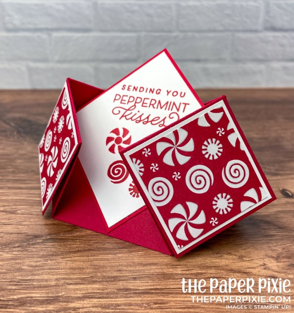 This is a double diamond fold card made with the Frosted Gingerbread Stampin' Up! stamp set and the sentiment says sending you peppermint kisses