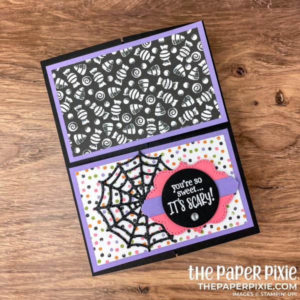 This is a crossover gate fold card made with the Frightfully Cute Stampin' Up! bundle and the sentiment says you're so sweet it's scary!