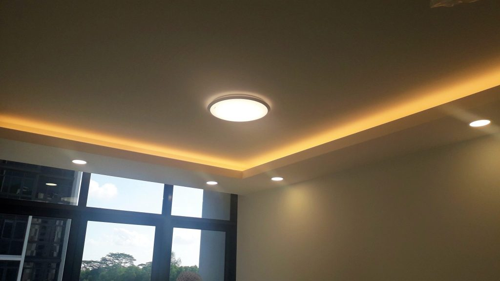 L shaped covelight false ceiling at Bedroom